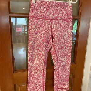 Pink Floral Lululemon Capri Leggings
